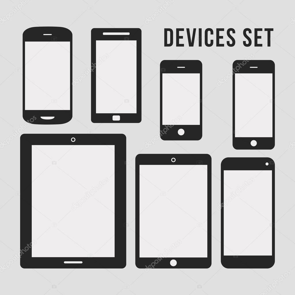 Flat Smartphone and Tablet Icons — Stock Vector ...