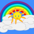 Rainbow and sun — Stock Vector