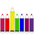 Colorful pencils' vector illustration on white background — Stock Vector