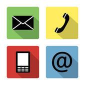 Contact icons buttonsset - envelope, mobile, phone, mail — Cтоковый вектор