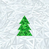 Christmas geometric abstract tree on blue abstract background — Vector de stock