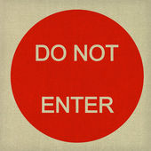 Do not enter sign on dark canvas background — Stock Photo