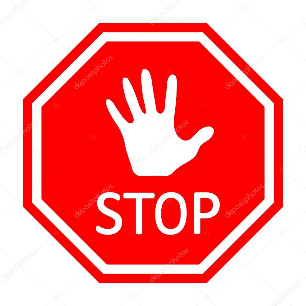 Panneau d 39 arr t avec une main de trafic vector eps10 image vectoriell - Prix d un panneau stop ...