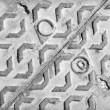 Stock Photo: Grunge metal floor with water hatchway