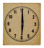 Time on old wall clock six pm. Isolated from background — Stock Photo