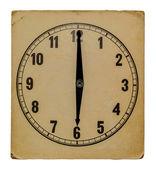Tempo no relógio de parede antigo 18:00 isolado do fundo — Fotografia Stock