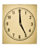 Textured old paper clock face showing 5 o'clock — Stock Photo