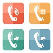 Icone telefono impostato su sfondo bottoni colorati. — Vettoriale Stock