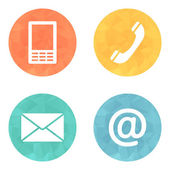 Contact icons buttons set - envelope, mobile, phone, mail — Stock Vector