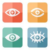 Collection of eyes icons on colored buttons — Stock Vector