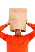 Man in paper bag on head — Stock Photo