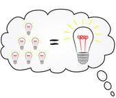 Light bulb representing an idea isolated — Stock Vector