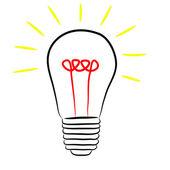 Sketch of light bulb on white background — Stock Vector