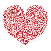 Red heart made from circles on white background — ストックベクタ