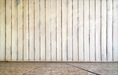 Interior of wooden wall and tile floor — Foto Stock