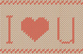 Vector knitted background. I love you pattern — Stock Vector