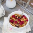 Granola with fruit and milk. — Stock Photo