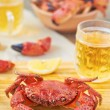 Boiled crabs and beer — Stock Photo #41276569