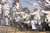 Troops of Spanish soldiers firing on the battlefield in Representation of the Battle of Bailen — Stock Photo