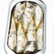 Canned sardines in vegetable oil open — 图库照片