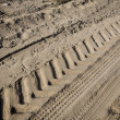 Tractor tire tracks on beach sand — Stockfoto