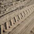 Tractor tire tracks on beach sand — Stock Photo