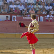 The Spanish Bullfighter Jose Luis Moreno provides to the public at the beginning of the Bullfight in the Bullring of the Pozoblanco — Stock Photo