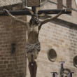 Figure of Jesus on the cross carved in wood by the sculptor Gabino Amaya Guerrero — Stock Photo