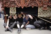 Costaleros or float bearers during a break in holy Week — Stock Photo