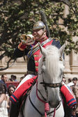 Musician trumpeter on horseback, Holy week in Seville province, Andalusia, Spain — Foto Stock