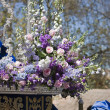 Detail of floral ornamentation on a throne of Holy week — Stock Photo