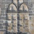 Relief imitating a Gothic window on a stone wall of facade of Church of Santa Maria de los Reales Alcazares — Stock Photo