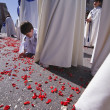 Child holding the ground rose petals during a Holy week procession — Stock Photo