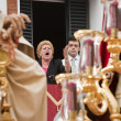Saetera singing during procession  holy monday — Stock Photo