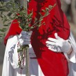 Penitent with a crosier carried olive branches during a procession of holy week on Palm Sunday — Stock Photo
