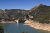 Panoramic view of reservoir of Tranco at half of its capacity — Stockfoto