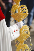 Detail penitent holding a palm during Holy Week on Palm sunday — Stock Photo