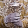 Dalmatic or white robe in a liturgical act of Holy Week, sceptre of silver — Foto Stock