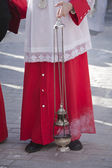Acolyte supports censer in a procession of Holy Week — Stock Photo