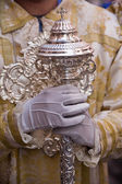 Dalmatic or white robe in a liturgical act of Holy Week, sceptre of silver — Stock Photo