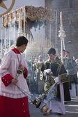 Young people in procession with incense burners in Holy week — Stock Photo