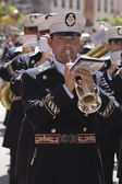 Brass band musicians, Palm Sunday, this band wears the uniform of Captain of Squad of the Royal escort of Alfonso XIII — Stock Photo
