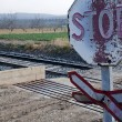 Stock Photo: Old signs of level crossing without barriers