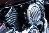 мотоцикл в хромированной двигатель — Стоковое фото