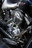 Motorbike's chromed engine — Stock Photo