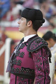 Banderillero, the torero who, on foot, places the darts in the bull, the banderillas is Brightly-coloured darts placed in the bull, Spain — Stockfoto
