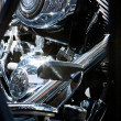 Motorbike's chromed engine, Bikes in a street — Stock Photo