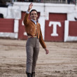 "The spanish bullfighter Manuel Jesus ""El Cid"" greeting the public in gratitude by its spectacle in Linares — Stock Photo"