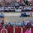 Spectators and music band in a bullfight in Ubeda — Stock Photo