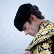 Stock Photo: Bullfighter spanish Jose Tomas getting dressed for paseillo or initial parade